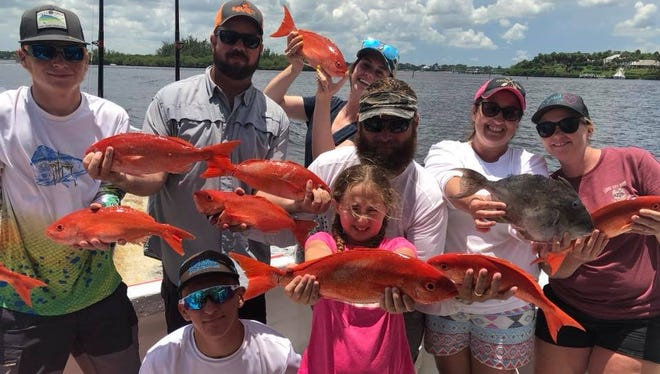 A million vermilion snappers, like these caught aboard the Lady Stuart party boat, are being caught by anglers fishing on the party boats along the Treasure Coast this week.