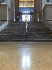 The floor of part of the Central Library is made of