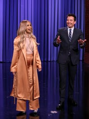 Co-Host Cardi B with Host Jimmy Fallon during the opening monologue on April 9, 2018.