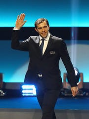 Former Detroit Red Wings star Pavel Datsyuk is introduced