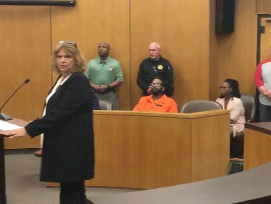 Public defender Alison Steiner addresses the court