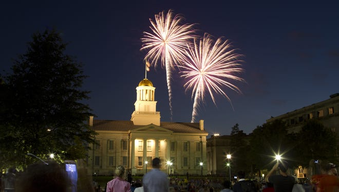 Fireworks blasted over the Old Capitol in Iowa City in 2012.