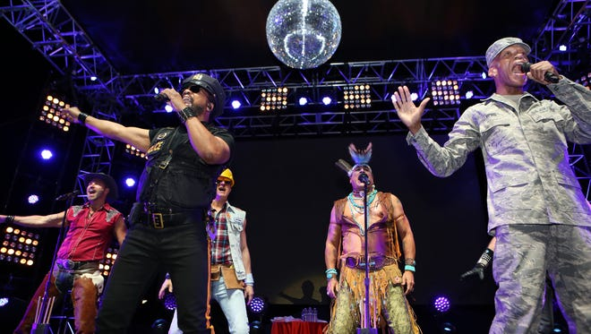Village People perform during the 23rd annual Evening Under The Stars held at the O'Donnell Golf Club in Palm Springs on Saturday, April 30, 2016.