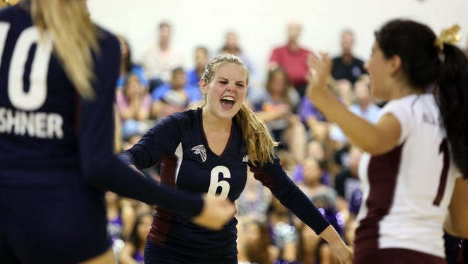 La Quinta's Lexi Christmas celebrates during the game against Shadow Hills at La Quinta High School on Thursday, September 15, 2016.
