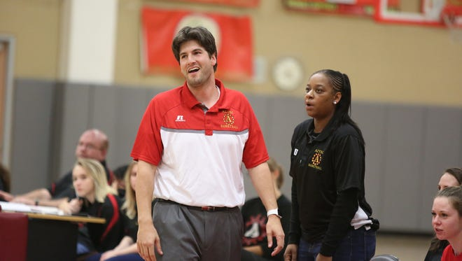 Adam Emmer coaches the Palm Desert High varsity girls' basketball team during their home game against Shadow Hills  on Wednesday.