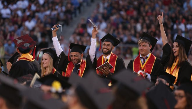 College of the Desert international student graduates are recognized during the commencement ceremony in Palm Desert on Friday, May 26, 2017.