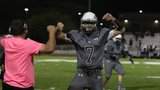 Rancho Mirage's David Talley celebrates a first half touchdown during the first round playoff game against Jurupa Hills in Rancho Mirage on Friday, November 10, 2017.