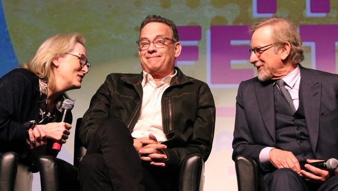 """Actors Meryl Streep, Tom Hanks and director Steven Spielberg participate in a panel discussion Thursday before a screening of """"The Post"""" at the Palm Springs International Film Festival."""