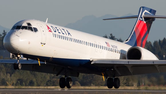 A Delta Air Lines Boeing 717 aircraft is seen at Seattle-Tacoma