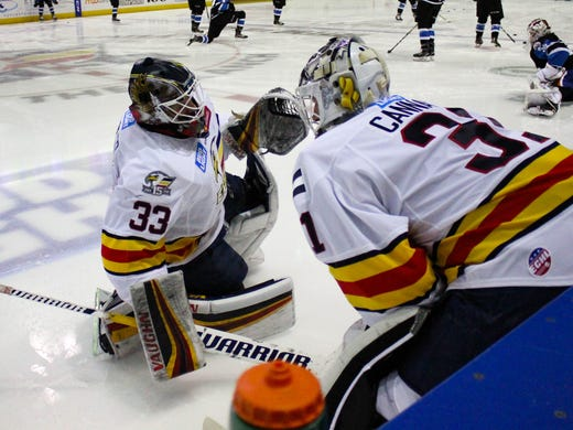 Colorado Eagles Goalie Lukas Hafner 30 Stops A Shot By Toledo Walleye Player Alden
