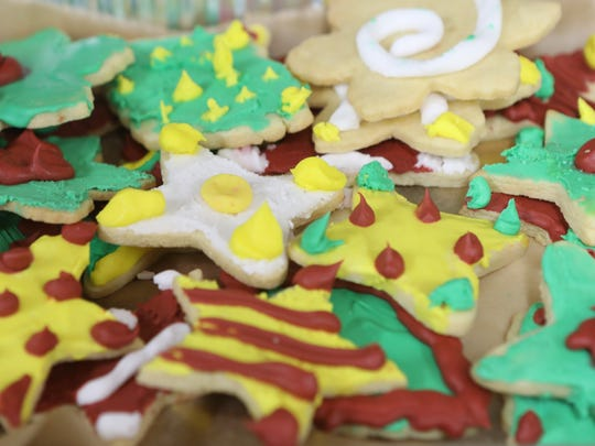 Festive cookies were available for dessert at the St. Paul's Community Development Corporation Emergency Men's Shelter in Paterson, Monday, December 25, 2017.  The Bergen County Chapter of the Sisterhood of Salaam Shalom cooked and served the food for approximately two dozen men who reside at the shelter.  The sisterhood is a national Muslim, Jewish, interfaith organization, formed to create peace.