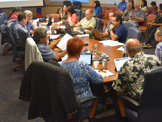 In this May 23, 2017, file photo, the Consolidated Commission on Utilities meets with Guam Power Authority and Guam Waterworks Authority during a board meeting.
