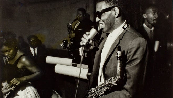Ray Charles performs at a roller rink in Rochester in 1957.