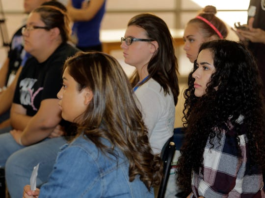 Eastwood High School seniors listen to state Sen. José Rodríguez talk about the importance of becoming registered voters and voting in September 2015.