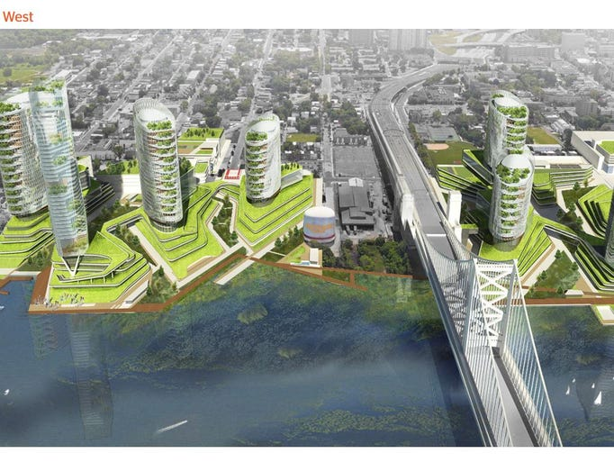 An aerial view, from the west, of Camden County's proposal