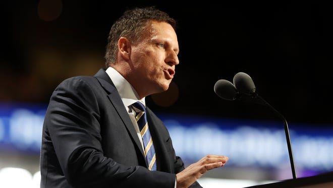 Peter Thiel speaks at the 2016 Republican National Convention in Cleveland.