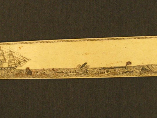 An anonymous engraved scrimshaw bone busk depicting