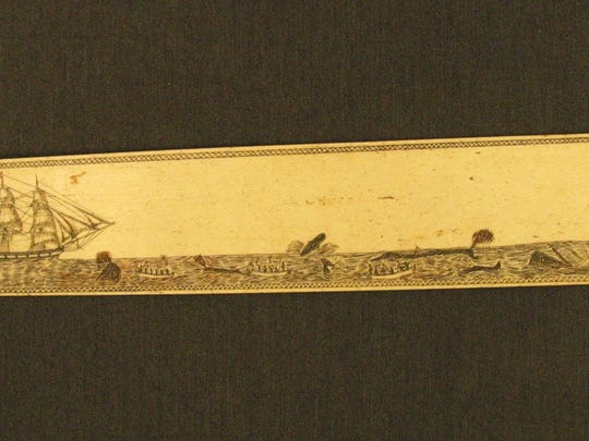 "An anonymous engraved scrimshaw bone busk depicting whaling was one of several objects Michael Dyer discusses in his book, ""The Art of the Yankee Whale Hunt: Manuscript Illustration in the Age of Sail."""