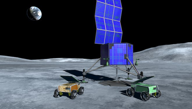 Concept image showing a commercial developed lander and rovers on the lunar surface.