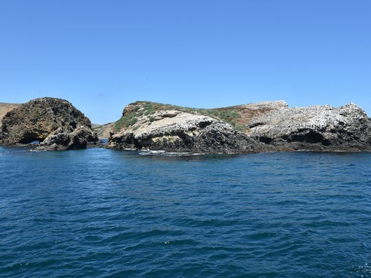 Scorpion Rock sits off the shore of Santa Cruz Island.