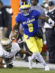 Delaware wide receiver Jamie Jarmon pushes upfield