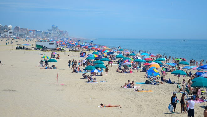 The beaches in Ocean City, Md. are full of swimmers and vacationers during the holiday week on July 3, 2017.