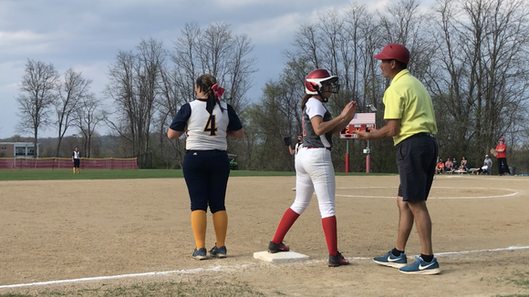 Somers head coach Dave Scagnelli talks to Jill Carlisto during a game against Panas at the Primrose School on May 3, 2018.