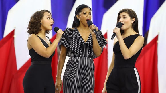 Jasmine Cephas Jones (from left), Renee Elise Goldsberry and Phillipa Soo of 'Hamilton' sing 'America the Beautiful' prior to the Super Bowl.