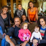Larry Morris wants his daughters and grandchildren – (clockwise from left) Maia Morris , 14, Tamarra Morris, Tiana Morris, Talia Morris, Saige Saul, 9 months, Skyy Saul, 2, and Masen Morris 5 – to understand the past.