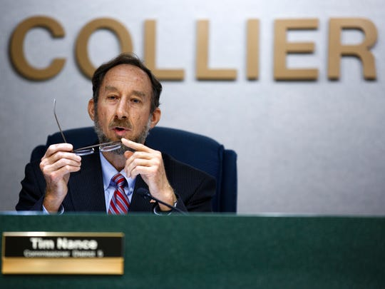 """Tim Nance, commissioner for District 5, votes in favor of the Arthrex expansion on Tuesday, Oct. 25, 2016, at the Collier County Commission Chambers in East Naples. """"Arthrex has impressed me in many ways,"""" Nance said. """"They have consistently raised the bar on their own initiative."""" The Arthrex expansion passed on a 5-0 vote."""