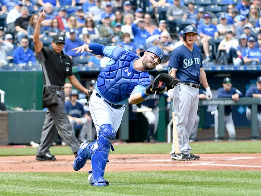Kansas City Royals catcher Drew Butera
