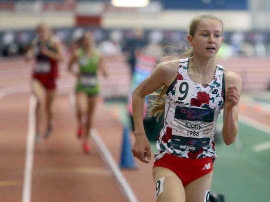 Katelyn Tuohy of North Rockland High School won the 2 mile race during the New Balance Nationals at the New Balance Armory in Manhattan March 11, 2018.