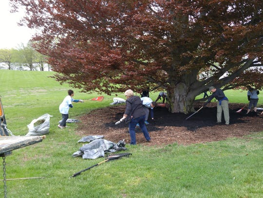 Volunteers are shown grooming the grounds at Staatsburgh