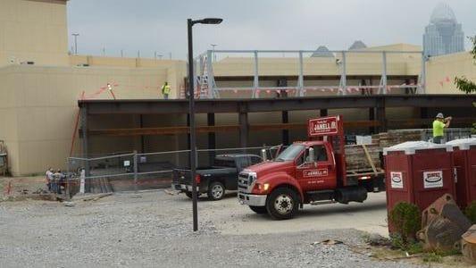 Construction of a smoking area is underway at Cincinnati's Horseshoe Casino.