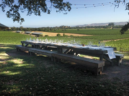 The setting for dinner at the hip and romantic Scribe Winery in Sonoma.