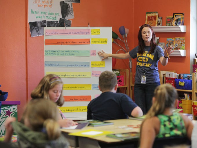 Kate Dunn instructs her fifth grade class at Bowerman Elementary on Thursday, August 28, 2014.