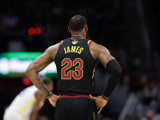 In this June 8, 2018, photo, Cleveland Cavaliers' LeBron