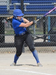 KCC sophomore Kimberly Kucharczyk, from Lakeview,  takes a swing during action earlier this season.