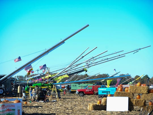 Chunkers line up at the 2016 World Championship Punkin Chunkin on Saturday.