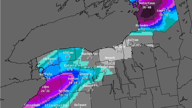 Storm snowfall forecast
