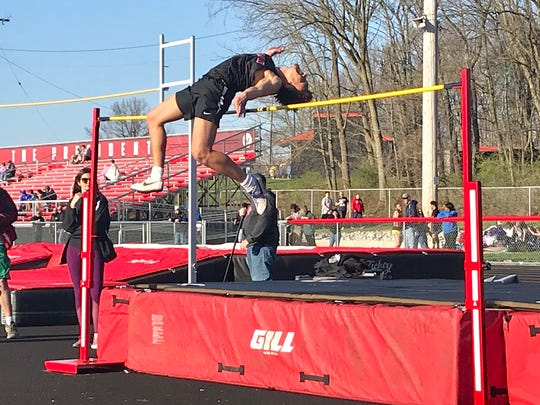 Savion Tyler of Marion Harding clears 6-foot-7 in the