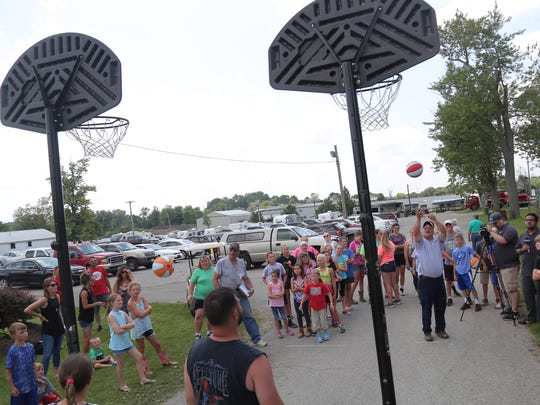Children and adults compete in the free throw contest Wednesday afternoon at the Crawford County Fair.