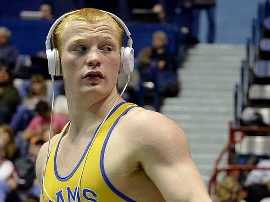 Kennard-Dale's Chance Marsteller gets ready for his 170-pound bout in the second round of District 3 Class AAA championships in February. Marsteller will look to cap his varsity career with his fourth straight state title at this weekend's PIAA tournament.