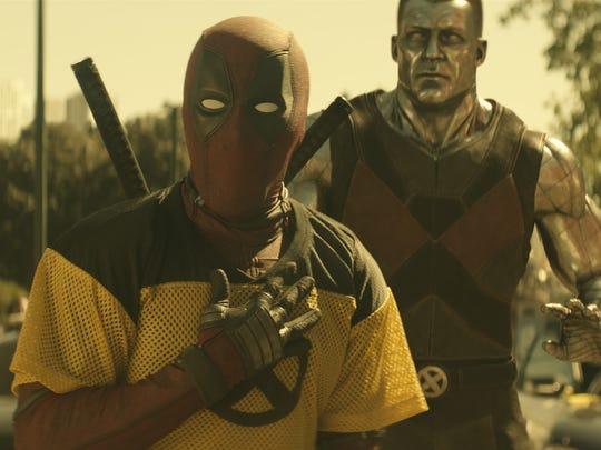 "Wisecracking merc with a mouth Deadpool (Ryan Reynolds, left) runs into an old pal, X-Men powerhouse Colossus (Stefan Kapičić), in the sequel ""Deadpool 2."""