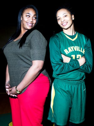 Jokierra Sneed, head coach of the Rayville girls basketball team, stands with two time All-NELA Player of the Year Micaela Wilson.