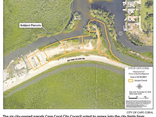 Aerial photo of the six city-owned parcels the Cape Coral City Council voted to annex into the city limits.