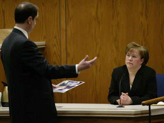 Steven Avery's attorney Jerome Buting questions Lynn Zigmunt, Manitowoc County Clerk of Courts, during the Steven Avery homicide trial on March 6, 2007 at the Calumet County Courthouse in Chilton.