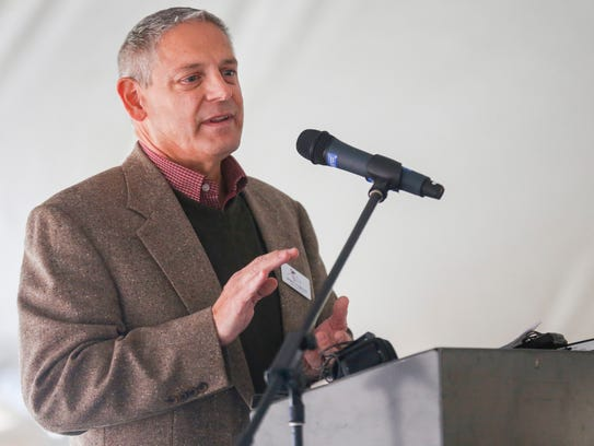 Doug Colvin, director of Public Works for the city of Nixa, speaks during a dedication ceremony for the Nixa Solar Energy Farm was held on Tuesday, Nov. 14, 2017.