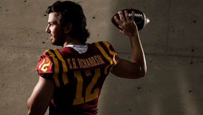 Quarterback Sam Richardson poses for a portrait during media day at Iowa State University in Ames on Thursday, August 6, 2015.