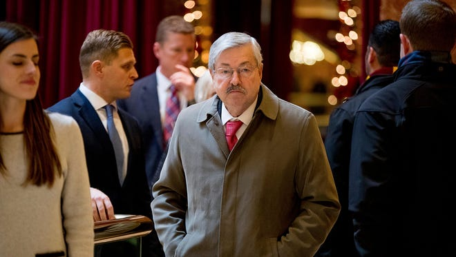 Iowa Gov. Terry Branstad arrives at Trump Tower in New York on Tuesday, Dec. 6, 2016. Multiple media reports say President-elect Donald Trump will name Branstad as ambassador to China.